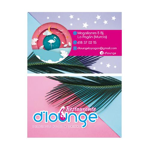 publicidad diseño tarjetas restaurante d' lounge