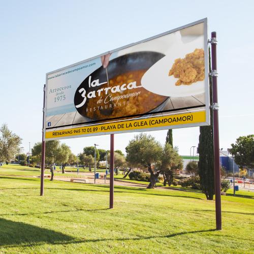 publicidad diseño vallas la restaurante barraca de campoamor